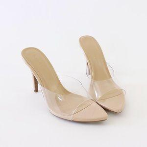 Carmel-01A neutral clear vinyl patent heel mule